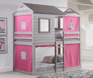 Cabin Bunk Bed Gray with Pink Tent