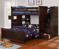 Allen House Twin over Full Storage Loft Bed with Stairs Weathered Espresso