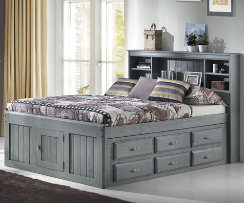 e3bd1adf38c ... School House 6075 Pecan Finish Full Size Captains Bed