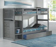 Westport Gray Mission Stair Stepper Bunk Bed