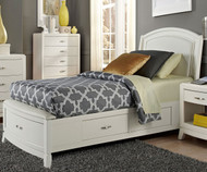 Avalon Leather Storage Bed Twin Size White Truffle