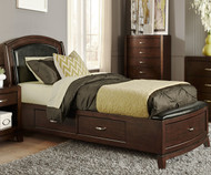 Avalon Leather Storage Bed Twin Size Dark Truffle