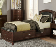 Avalon Leather Storage Bed Full Size Dark Truffle