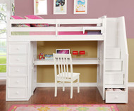 Allen House Study Loft Bed with Stairs Twin Size White