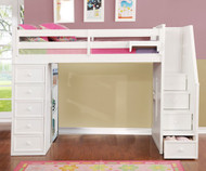 Allen House  Loft Bed with Stairs Full Size White