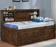 Preston Twin Size Bookcase Captain's Day Bed
