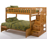 Crestwood Twin over Full Bunk Bed with Stairs Medium Oak