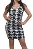 92% Cotton! Hi-Cut, Geo Pattern Black & White Bodycon Dress.