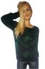 Lightweight Black Sweater with Metallic Green Cupid Print!