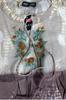 100% Cotton! Boho Tie Dye Embroidered Peasant Top.  Earth Mocha.