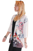 Plus Size Open Cardigan With Elegant Birds And Floral Patterns. Beige.
