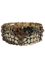 BRACELETS. Classy Metallic Stretch Bracelet. Color: Gold with Amber 'Diamond' Cross.