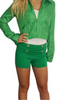92% Cotton High-Waisted Shorts! Solid Green.