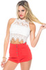 ESSUE White Lace Open Back Crop Top from Boutique Brand!