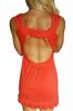 Orange Rayon Dress with Cutout Back & Keyhole Front with Ruffle.