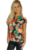 Black Sleeveless Top with Red Floral.