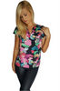 Black Sleeveless Top with Pink Floral.