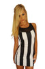 Black and White Vertical Stripe Dress with Sheer Accent - from RAINBOW!
