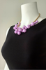 Boutique Necklace of Oversized Faux Pearls. Lilac, Purple.