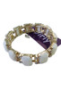 Trendy Stretch Bracelet   Color: Gold with White