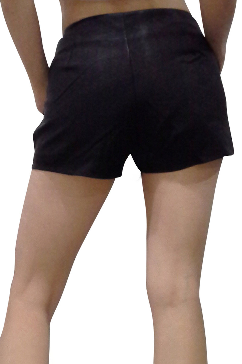Faux Leather Shorts with Lining & Front Pocket! Black.