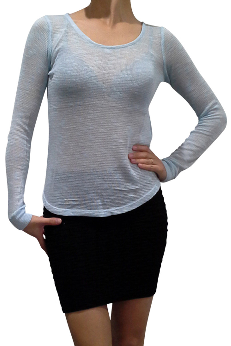 Blue Rayon Top with Keyhole Detail.