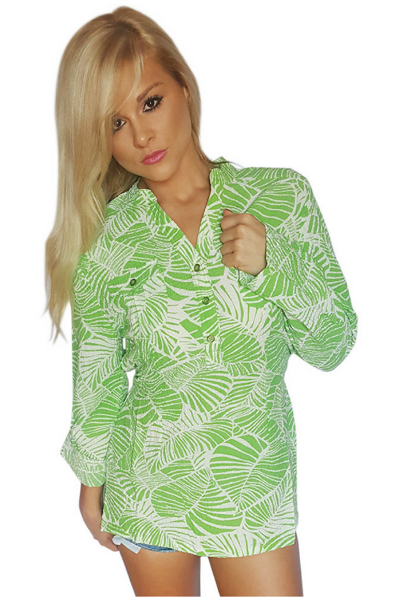Green & White Floral Button Down Tunic Top Is Belted And Has Chest Pockets. 50% Rayon.