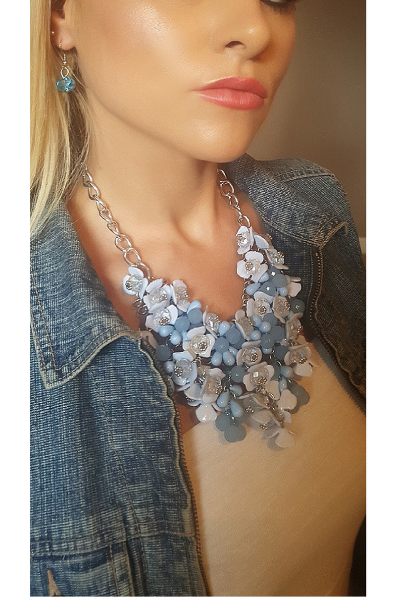 Statement Necklace | Earrings | Floral | Baby Blue and White