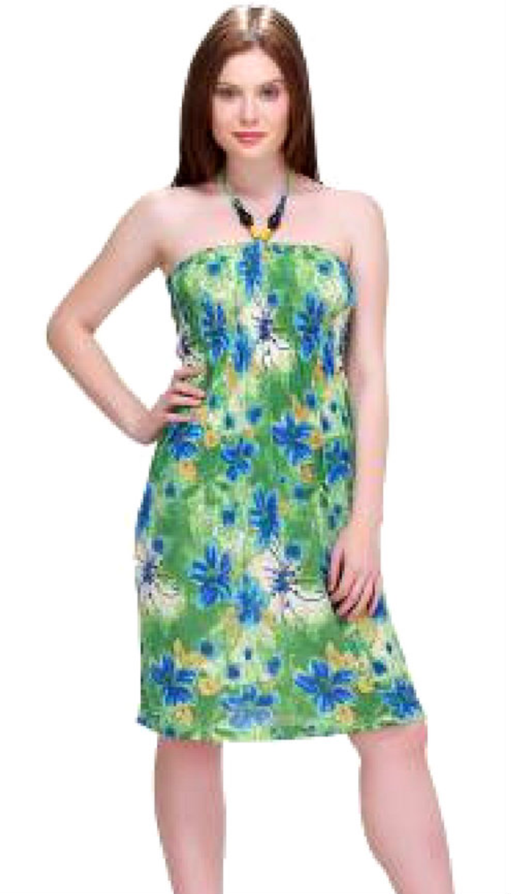 Silky & Cool Green Dress with Beaded Halter! One Size Fits Most.