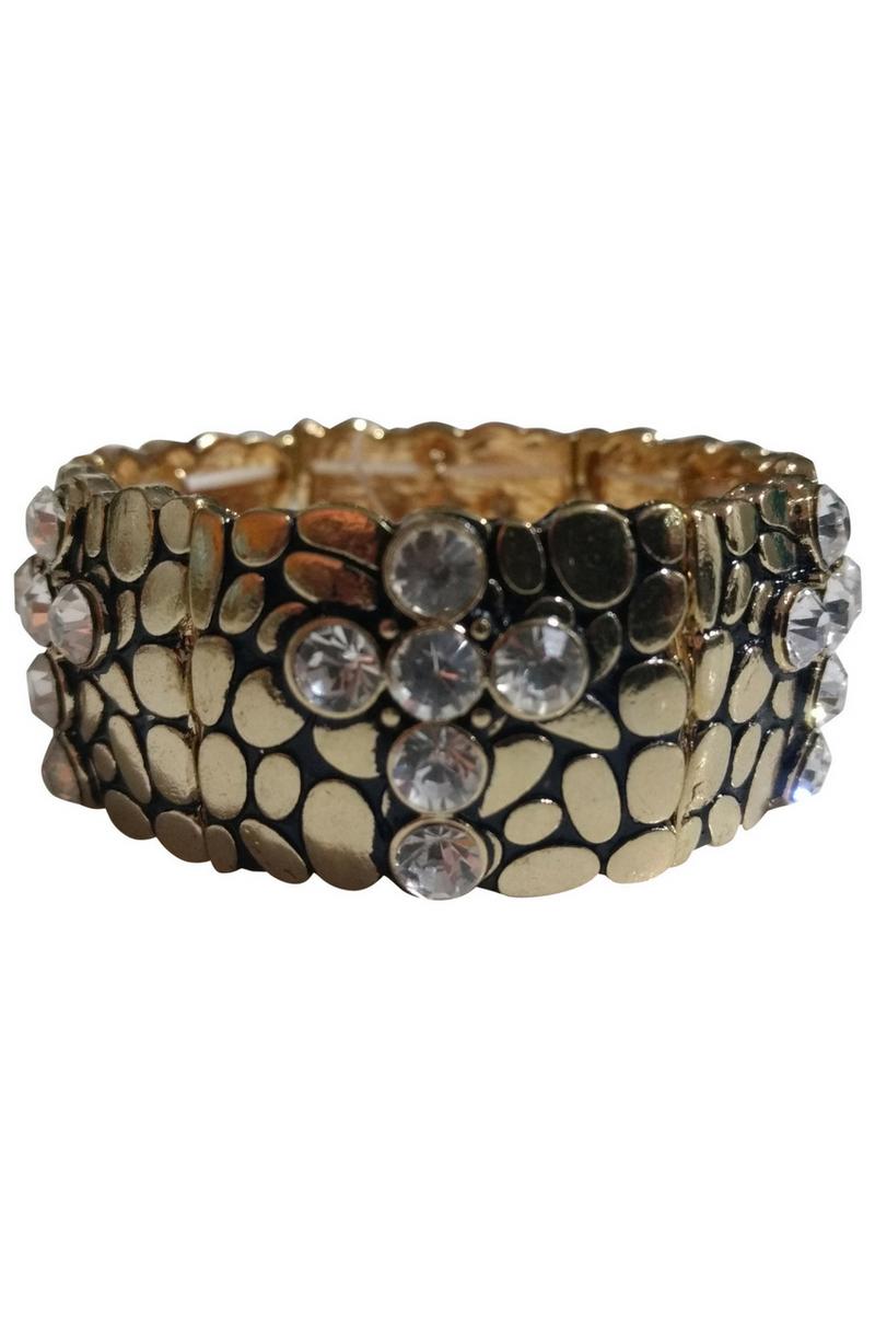 BRACELETS. Classy Metallic Stretch Bracelet. Color: Gold with 'Diamond' Cross.