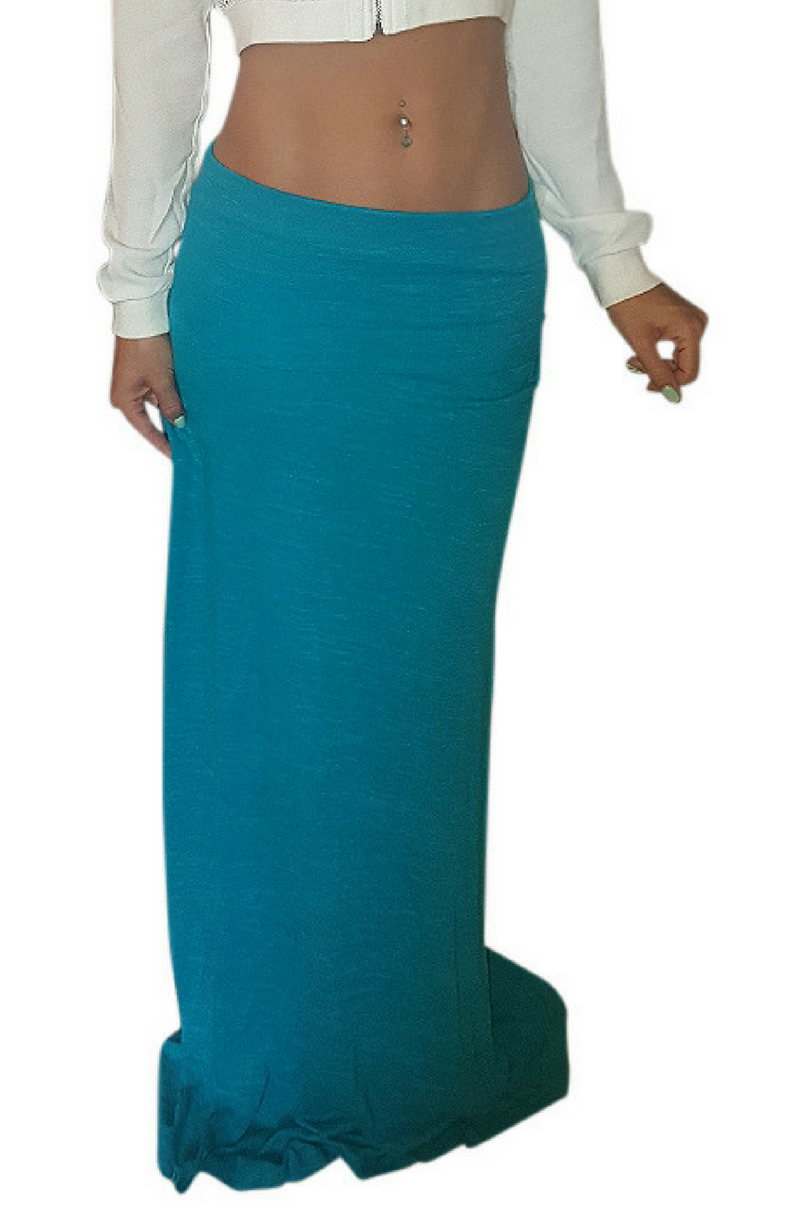 Fall Maxi can be worn as a Skirt or Dress! Teal Blue. 80% Egyptian Cotton!