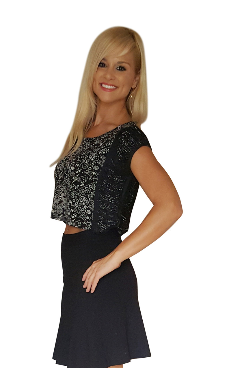 Black dress with white lace paisley overlay
