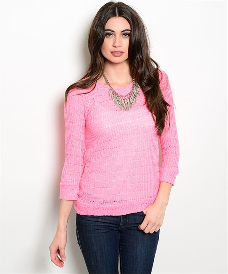 Lightweight Knit Top with Crochet Lace Back! Pink.