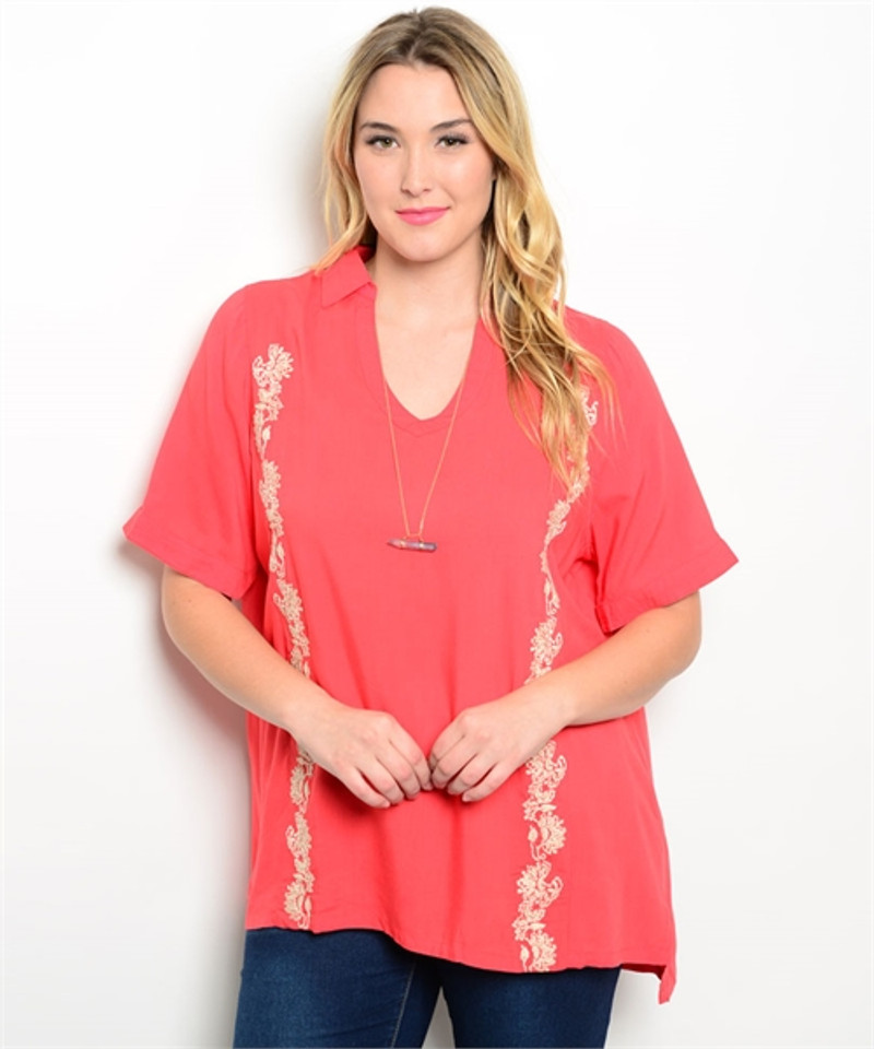 PLUS SIZE Rayon Top with V-Neck and Embroidery. Coral.