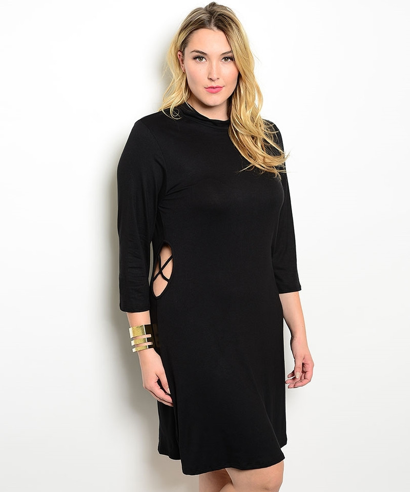 PLUS SIZE Long Sleeve Black Dress with Spaghetti Detailed Cutout!