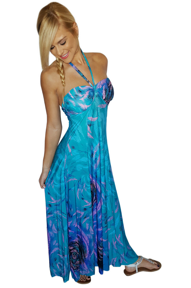 Maxi Dress   Strapless or Halter Dress   Teal Paisley