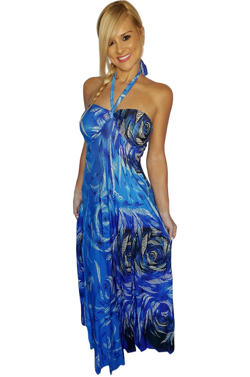 Halter maxi dresses blue