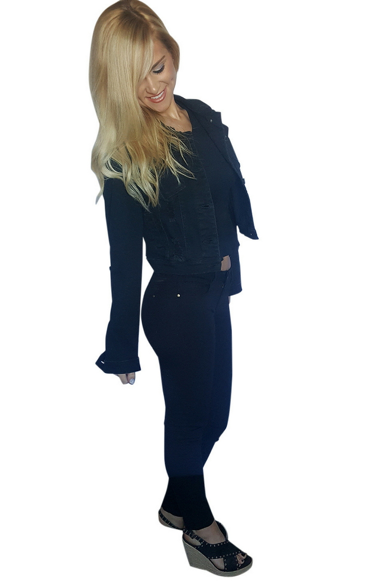 98% Cotton | Solid Black Pants | Skinny Jeans