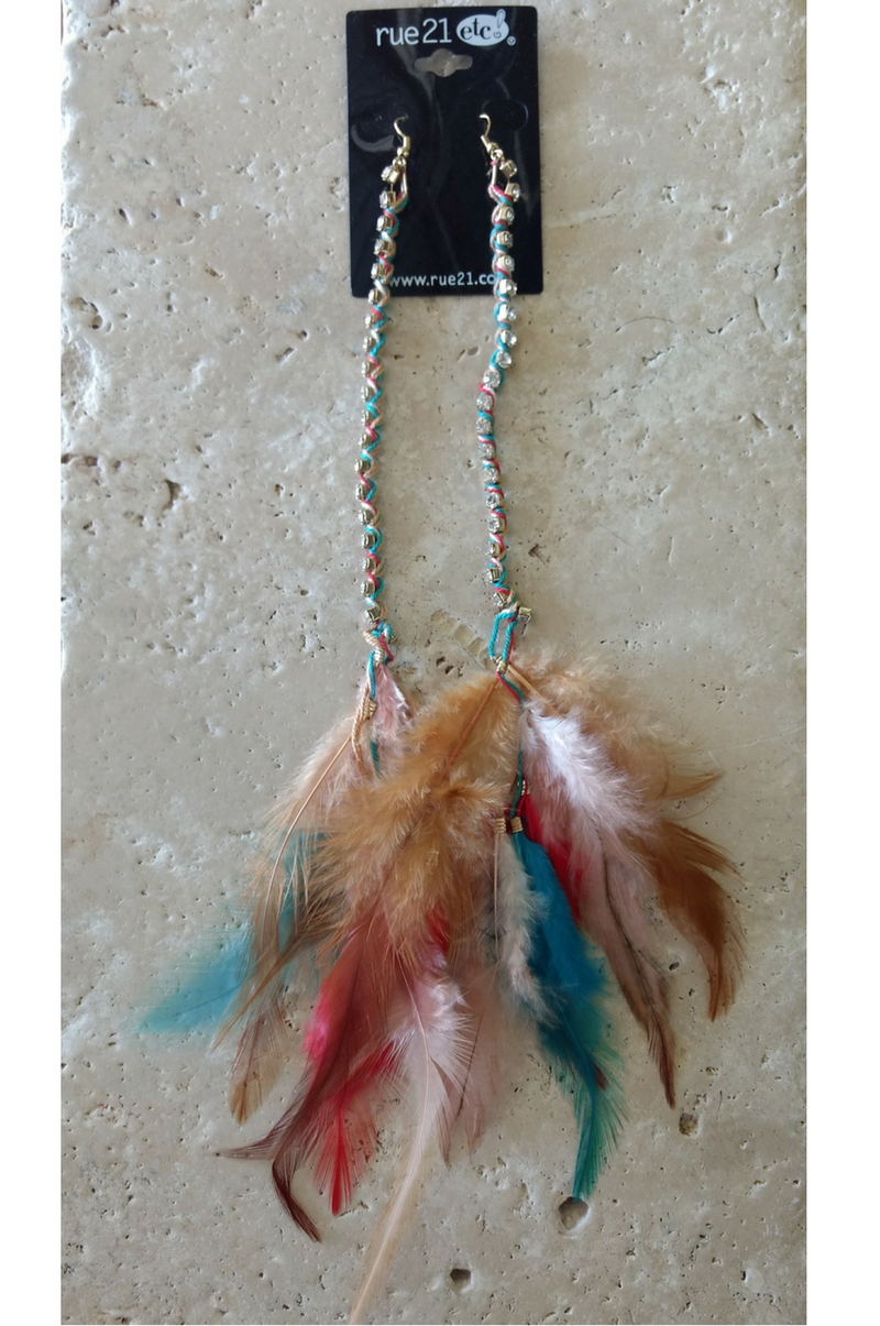 RUE 21 Boho Chic Feather Earrings. Tuquoise.