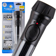 48 ea. Black Hybrid Solar Flashlight with Battery Backup