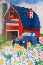 Evergreen - 'Barn & Truck' painting - Decorative House Flag