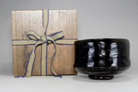 sale: KURO RAKU CHAWAN Antique Japanese Black Pottery Bowl w Box by Ryonyu #2426