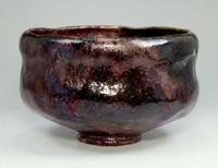 sale: Kato Sekishun - Antique Japanese tatsuta-nishiki glazed pottery raku bowl