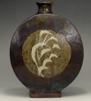 sale: Fine inlaid mashiko pottery flower vase by Shimaoka Tatsuzo #2447