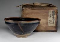 sale: TENMOKU CHAWAN - Antique Chinese Jian Yao Pottery Tea Ceremony Bowl w Box #2552