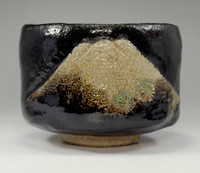 sale: Raku chawan - black pottery bowl w Mt.Fuji for Japanese tea ceremony