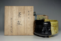 sale:Raku chawan - Antique Japanese pottery bowl w 11th Raku Keinyu mark