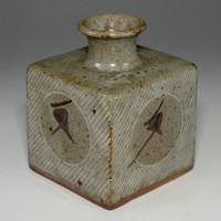 sale: HANAIRE Pottery Bud Vase in Masiko Ware by SIMAOKA TATSUZO