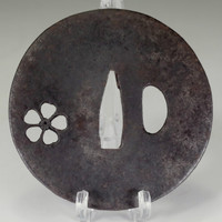 sale: Sakura sukashi tsuba / Antique iron samurai sword guard