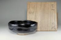 sale: Kuro-raku chawan / Japanese black pottery tea bowl w Ryonyu mark